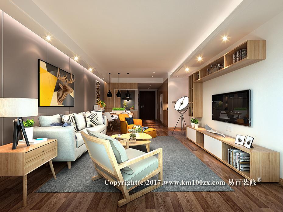 七彩云南第一城135平米现代风格客厅装修效果图