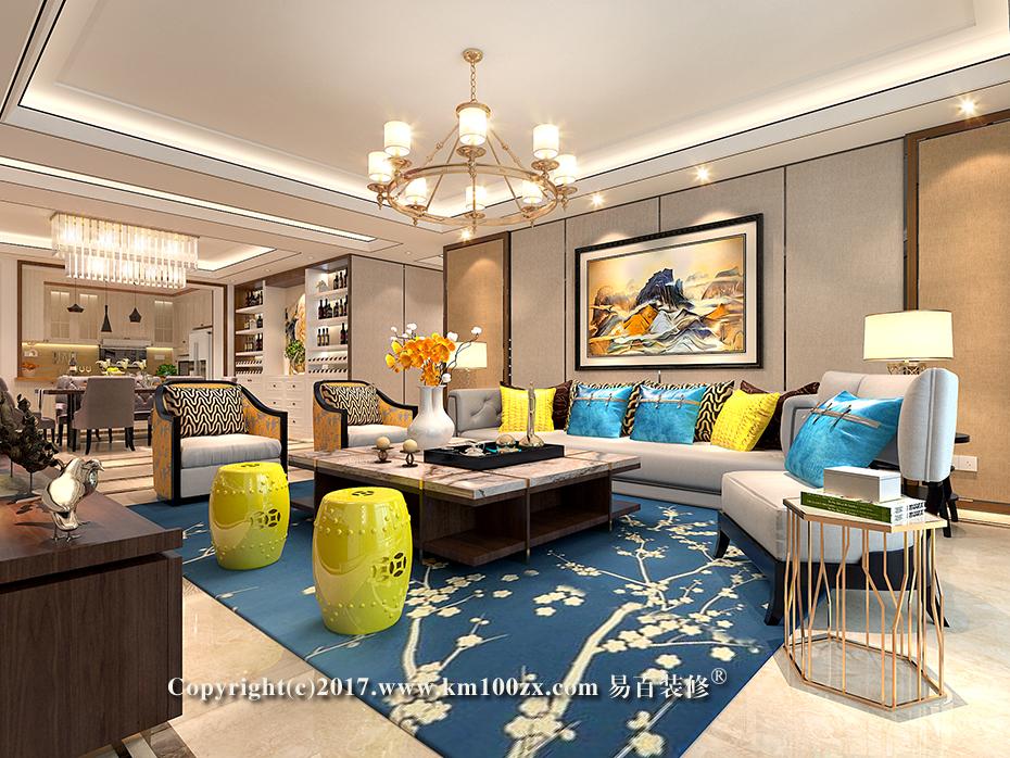 德润朗悦湾230平米简约风格客厅装修效果图
