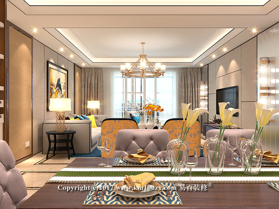 德润朗悦湾230平米简约风格餐厅装修效果图