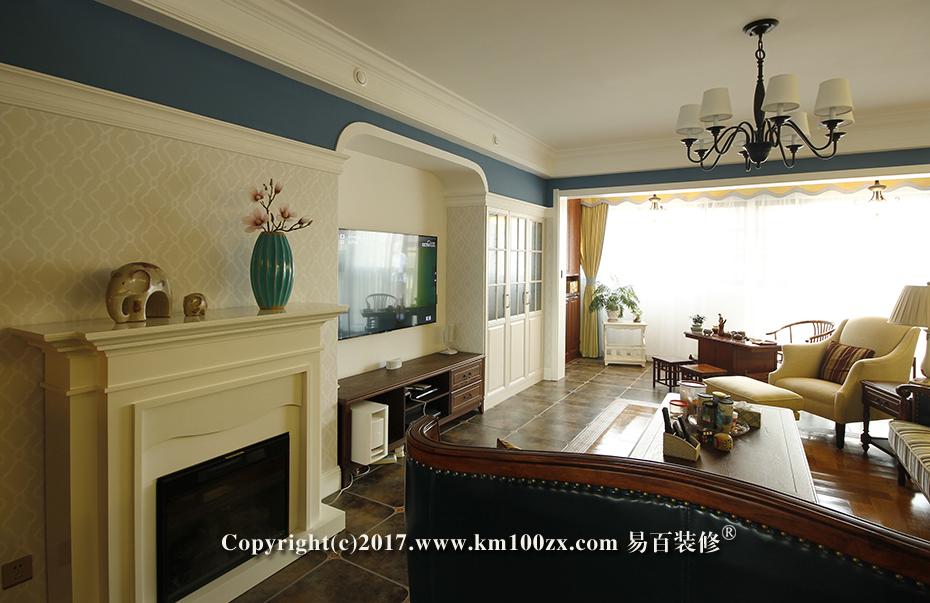 中洲阳光210平米美式风格客厅装修实景图