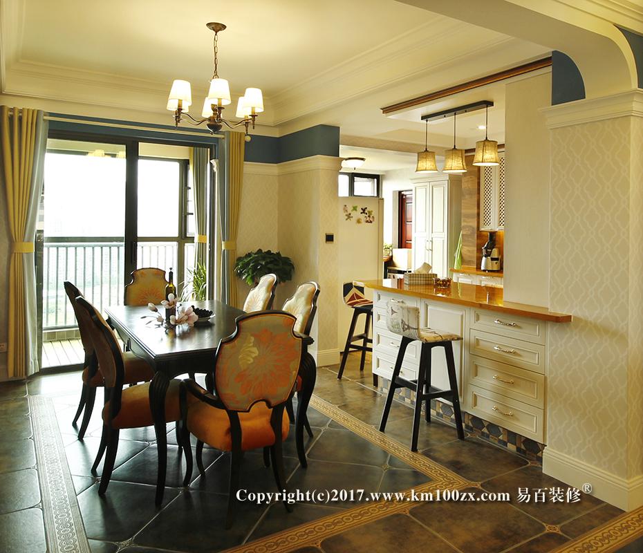 中洲阳光210平米美式风格餐厅装修实景图